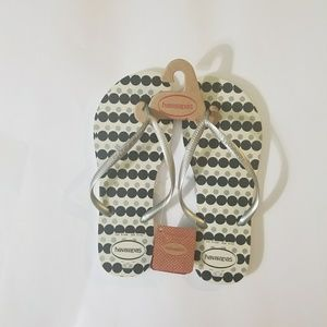 NEW HAVAIANAS sandal white, silver navy dots